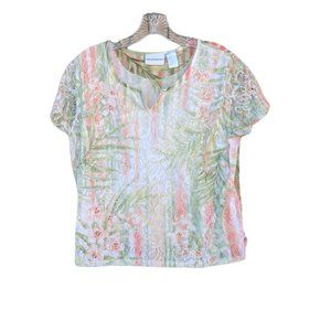 Alfred Dunner Split V Neck Green & Coral Lace Overlay Floral Beaded Top - Size L